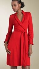 Preowned Diane Von Furstenberg Woman Wrap Dress SZ 0 Red Wool Long Sleeves