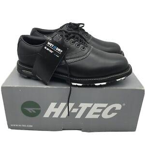 Hi-Tec Waterproof V-Lite Golf Shoes Black/Titanium Full Grain Leather BNIB