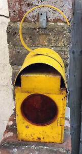 VINTAGE CHALWYN YELLOW PARAFFIN ROAD WARNING LAMP, LANTERN, LIGHT + BURNER .