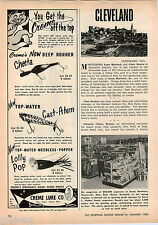1963 ADVERT Creme Fishing Lure Cheeta Cast Atem Lolly Pop Popper Akron Ohio