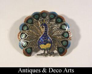 Filigree Silver and Enamel Peacock Brooch