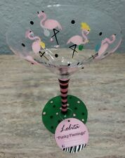 Lolita Funky Flamingo Long Stem Hand Painted Martini Glass