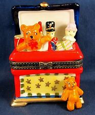 Toy Box with Bear and Toy Soldier Ceramic Trinket Box