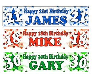 PERSONALISED BANNERS NAME AGE PHOTO BIRTHDAY PARTY BLUE GREEN RED DAD SON BOY A1