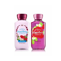 New Bath & Body Works Bourbon Strawberry & Vanilla Shower Gel Lotion 2 Piece Set