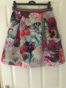 TED BAKER SZ 12 (3) KAIDEEN FLORAL SWIRL FUCHSIA  SKIRT FIT&FLARE IMMACULATE