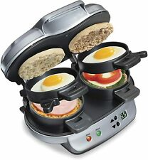 Dual Breakfast Sandwich Maker with Timer, Silver (25490A)