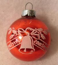 """VINTAGE CHRISTMAS ORNAMENT FEATHER TREE SHINY BRITE STENCIL BELL 2 1/4"""""""