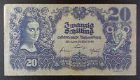 1945 Austria 20 Schilling Banknote, P-116.