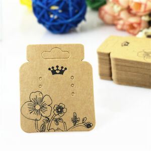 100Pcs Kraft Paper Jewelry Earring Hanging Display Holder Hang Cards Price Tag