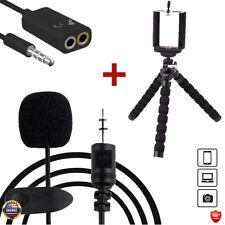 Mini Flexible Tripod, Lavalier Microphone Lapel, Splitter-Adapter for Smartphone