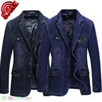 Mens Retro Denim Jeans Blazer Bar Punk Motorcycle Biker Suit 2Color Coat Jackets
