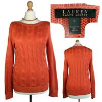 Ralph Lauren Women's Knit Jumper Size UK 10 Orange Long Cotton Sweater EUR S/M
