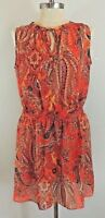 $140 Ralph Lauren Split Neck Chiffon Sleeveless Paisley Blouson Beach Dress P