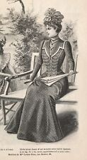 French MODE ILLUSTREE SEWING PATTERN July 22,1900 ROBE ANGLAISE GARNIE DE CUIR