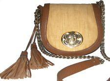 EMMA FOX Brown/Natural Leather crossbody purse clutch shoulder bag
