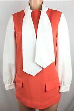 VTG 60's 70's Brady Marcia Style Hippy Mod Retro 14 Textured Polyester Blouse m