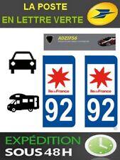 2 AUTOCOLLANT PLAQUE IMMATRICULATION DEPARTEMENT 92 LOGO REGION ILE DE FRANCE