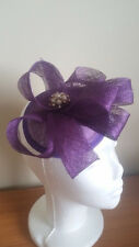 STUNNING PURPLE SINAMAY FASCINATOR WITH PEARLS, CRYSTALS & LOOPS, SPRING RACING