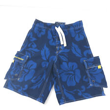Abercrombie boys large board shorts swim trunks lined blue white sht3