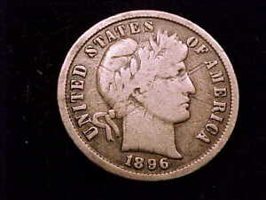 1896-S Barber Dime, Very Good grade, SCARCE COIN but BARGAIN DEAL!!