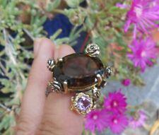 Magnifique bague ancienne Art Nouveau argent or quartz fumé améthyste