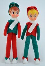 Winter Elf Boy Doll Poseable Christmas Ornament Set Red & Green Made Japan