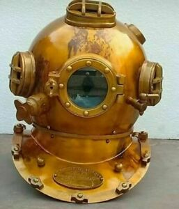 Antique Brass Morse Boston Diving Divers Helmet Navy Vintage Mark V Scuba Marine