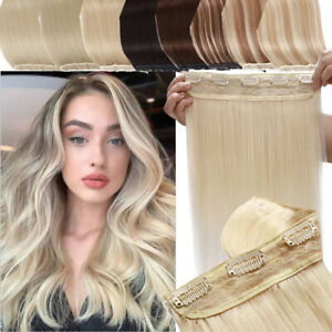 Seamless Clip In Remy Human Hair Extensions One Piece Hair Band 3/4 Full Head US