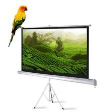 """New Portable 120"""" Projector 4:3 Projection Screen Tripod Pull-up Matte White TS"""