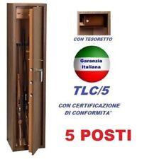 ARMADIO BOX PORTAFUCILI FUCILIERA ACCIAIO BLINDATO TECHNOMAX 5 POSTI F. LEGNO