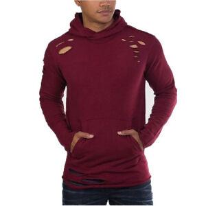 Jordan Craig Thrasher Ripped Men's Pullover Fashion Hoodie Wine 8264h-wine