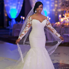 Sweetheart Long Sleeve Lace Applique Vestidos De Novia Mermaid Wedding Dresses
