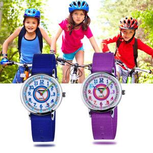 Kinder Armbanduhr Jungen Mädchen Analog Quarz blau lila Lernuhr Kinderuhr Uhr