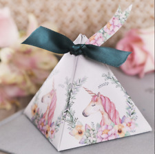 10 Unicorn Boxes Girls Birthday Party Treat Favours Boxes With Ribbon & Tags