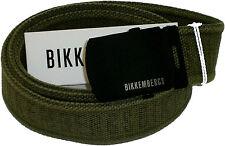 Cintura Uomo Bikkembergs tela Verde Militare Belt Man D1812 H4 Made in Italy 110 cm