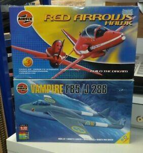 PAIR OF AIRFIX KITS RED ARROWS HAWK & VAMPIRE FB5 (BOTH SEALED)