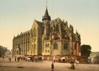 The Church in the town of Eu, 1890's, Vintage French Photography Poster