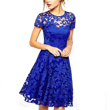 Womens Floral Lace Bridesmaid Short Sleeve Dress Ladies Party Evening Plus Size