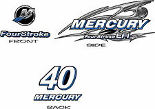 Mercury Four Stroke Outboard 15 30 40hp Chrome Style Decal Kit