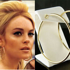 "2 1/2"" 60mm 14K Gold-Plated Easy ~Clip On Round Hoop Circle Non Pierced Earrings"