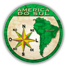 "Brasil South America Travel Stamp Car Bumper Sticker Decal 5"" x 5"""