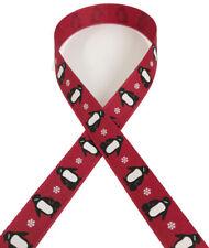 Christmas Ribbon - Penguin & Snowflake Print on Red Ribbon - 15mm - 1 METRE