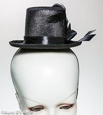 Top Hat Steampunk Mini Victorian Burlesque Black Felt Costume Hat With Feat