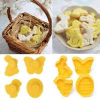 New 4pcs Easter Plunger Cutter Mold Sugarcraft Fondant Cake DIY Decorating Tool