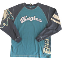 No Huddle Philadelphia Eagles Distressed Retro Long Sleeve Shirt, Size Small