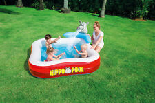BESTWAY HIPPO PLAY POOL 201 x 201cm WITH WATER SPRAYER AND DRAIN VALVE