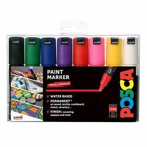 Uni POSCA PC-8K Chisel Tip Paint Marker Set of 8 Standard Colours