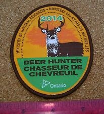 2014 ONTARIO MNR DEER HUNTING PATCH badge,flash,crest,moose,bear,elk,Canadian