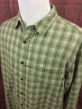 Eddie Bauer Men's Button Front Plaid Shirt Sz Large Linen  A202